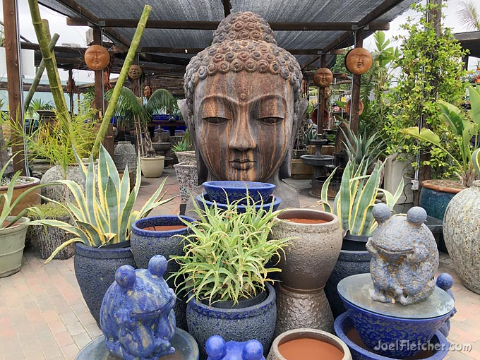 Pottery store with giant asian head