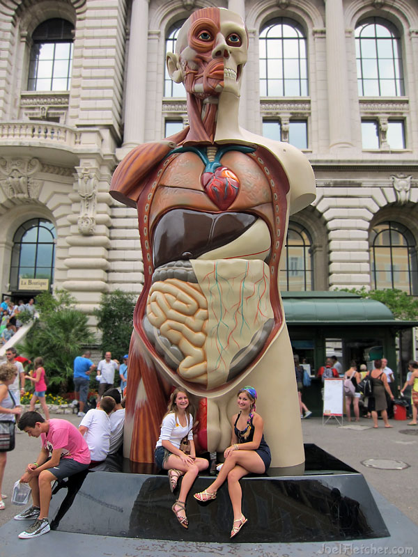 Huge sculpture of man showing internal anatomy