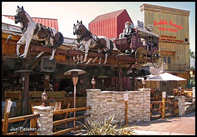 Western them restaurant with stagecoach. gallery